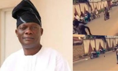 Hoodlums cart away brand new motorcycles after breaking into Senator Folarin's house in Ibadan (video)