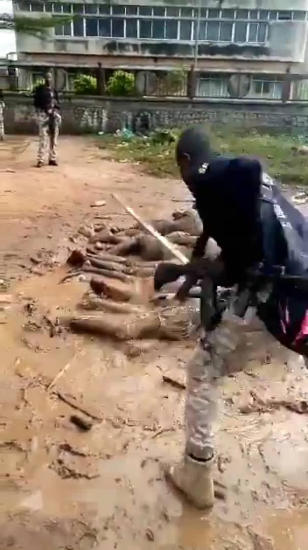 Curfew violators flogged by soldiers