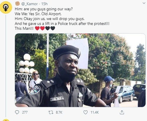 #EndSARS: Protesters praise policeman