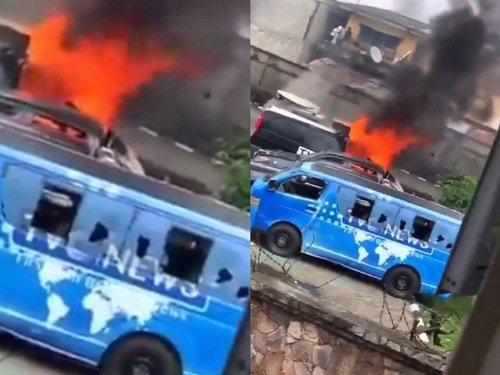 Mob sets TVC on fire