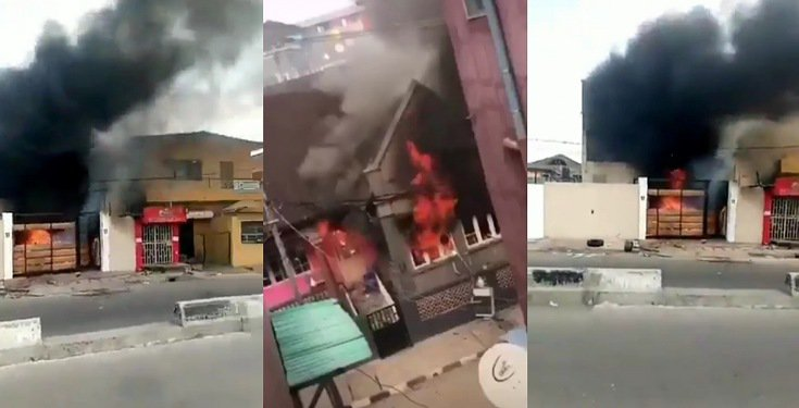 Governor Sanwo-Olu's family house set ablaze by angry mob