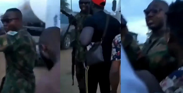 Protesters confront soldier who shot at them