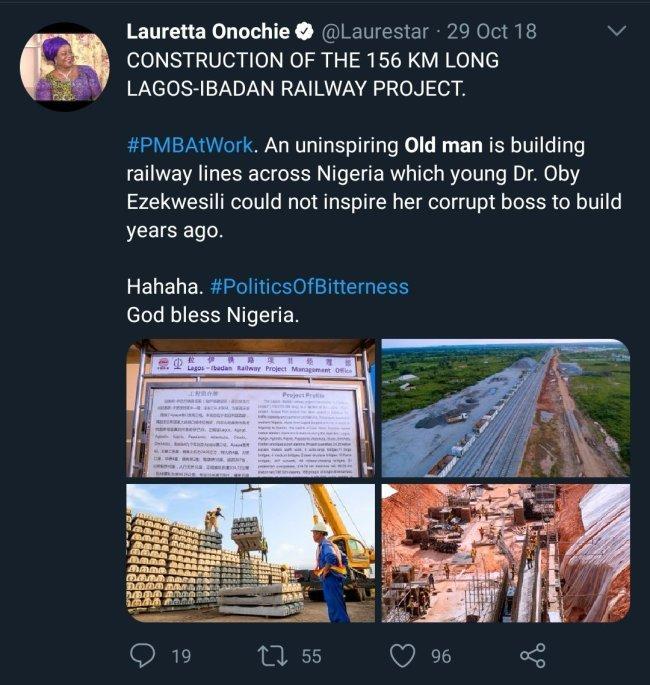 "Tweet of Lauretta Onochie calling President Buhari ""old man"""