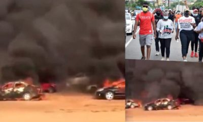 #EndSARS: Over 200 protesters cars burnt in Abuja (Video)