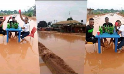 """In celebration of bad road"" - Says residents of nekede Imo state as they drink beer on muddy road"