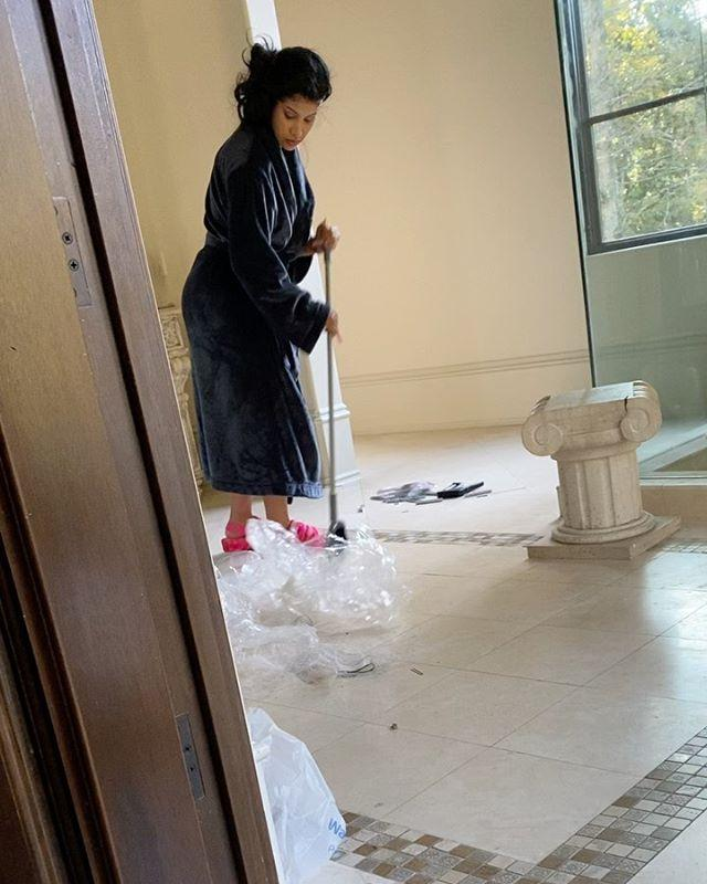 cardi b sweeping, doing house chores