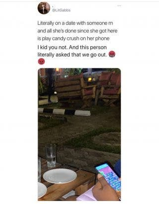 A Twitter user has taken to the platform to lament over an unusual behavior as his date won't stop playing Candy Crush on her phone.