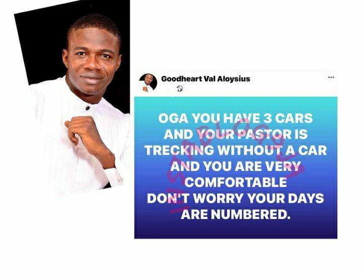 Your days are numbered, if you have 3 cars and your Pastor treks — Prophet Aloysius