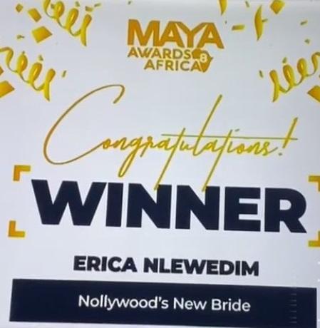 MAYA Awards: Erica Nlewedim crowned winner of Nollywood's new bride category