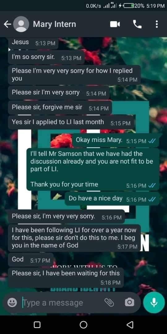 """Nigerian lady loses prestigious job to question of """"how did you get my number"""""""