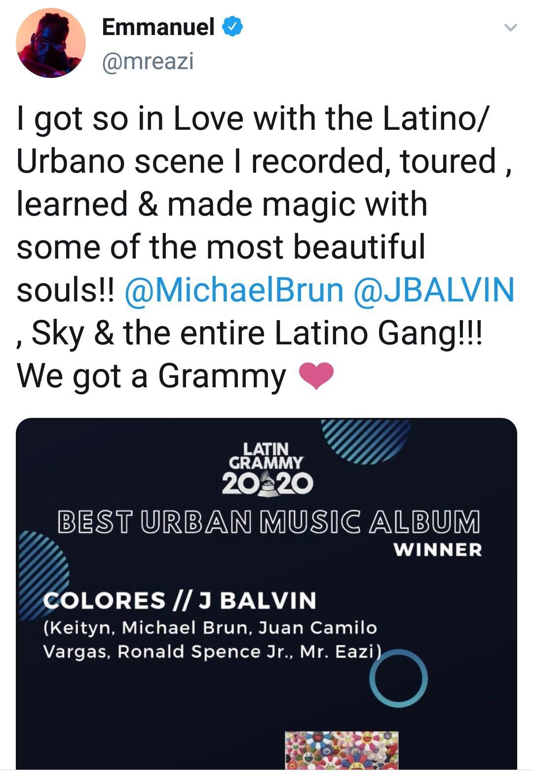 Nigerian Singer, Mr Eazi Wins Best Urban Music Album in 2020 Latin Grammy Award - Tatahfonewsarena