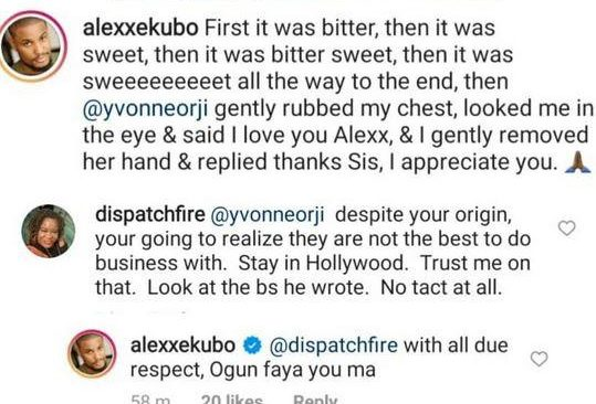 """Ogun Faya You Ma"" - Alex Ekubo Cuss Troll Who Advised Actress, Yvonne Orji Not To Work With Him"