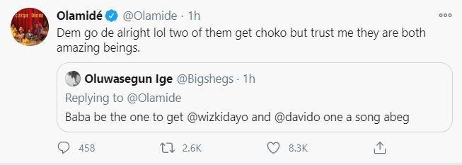 """""""Two of them get choko"""" – Olamide says when asked to feature Davido and Wizkid on a song"""