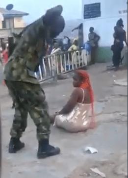 soldier flogging woman in ibadan
