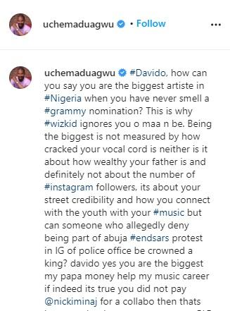 """Biggest artiste without Grammy, that's why Wizkid snubbed you"" – Uche Maduagwu attacks Davido"