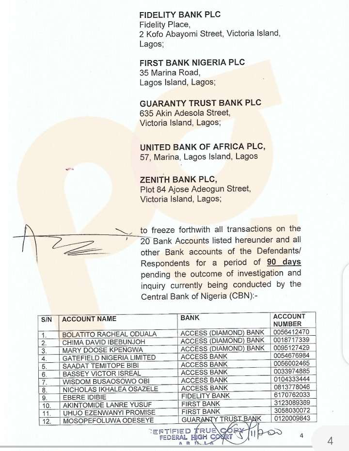 CBN order to freeze accounts of ENDSARS promoters and influencers