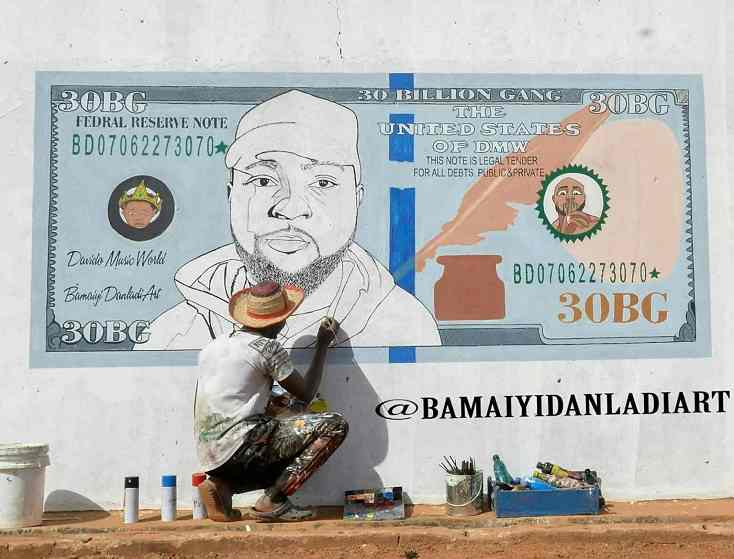 Davido gushes over wonderful painting of him on a dollar bill