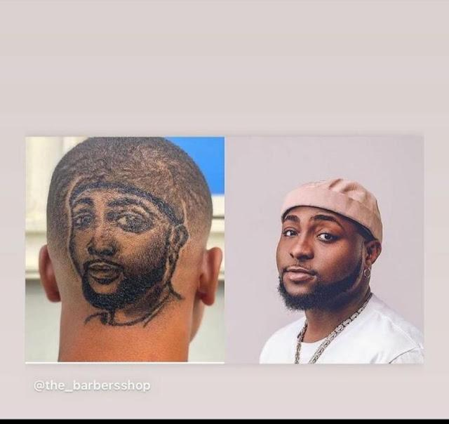 Fan gets haircut with Davido's face on his head
