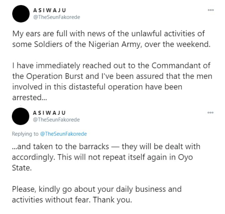 Soldiers who harassedresidents of Oyo