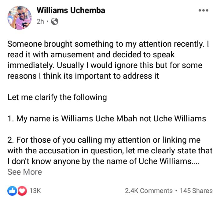 Williams Uchemba gay accusation