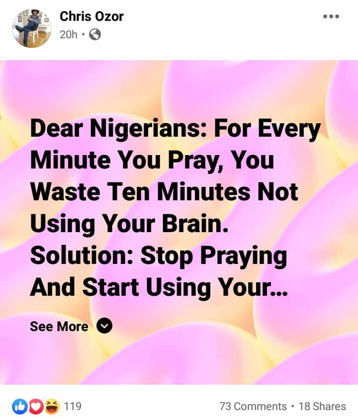 Stop praying and start using your brain