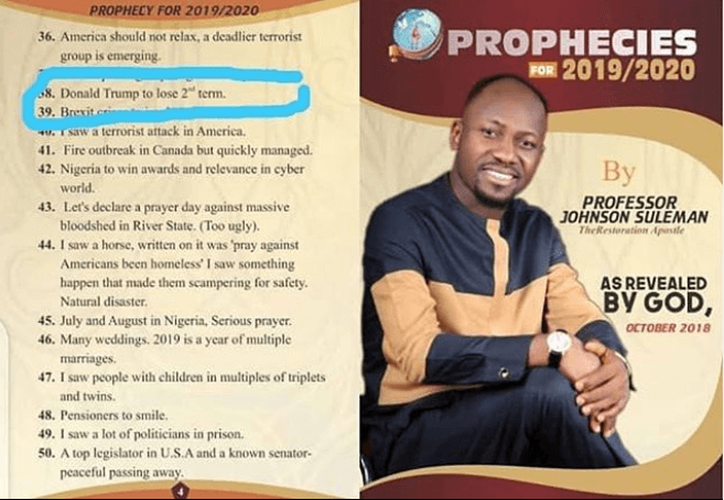 Trump's opponent will win, be impeached and his female vice-president will takeover – Apostle Suleman's 2019 prophes