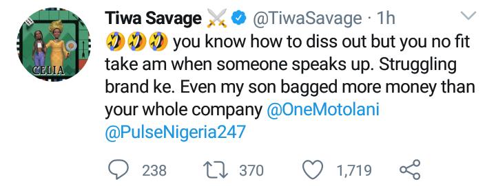 Tiwa Savage drags Journalist