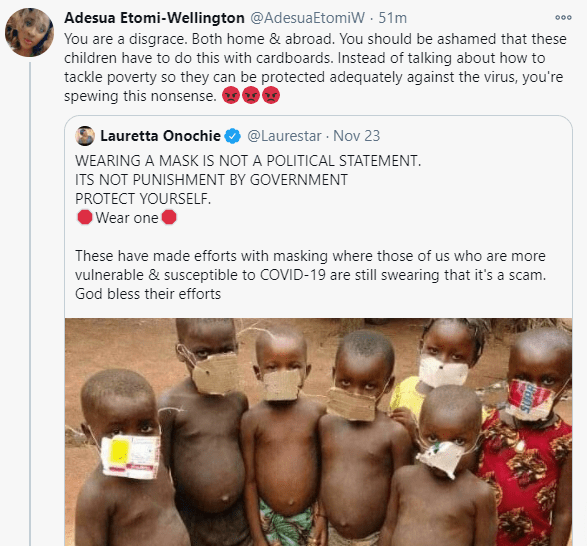 """""""You are a disgrace"""" - Adesua Etomi slams Lauretta Onochie over demeaning photo of kids on paper nose mask"""
