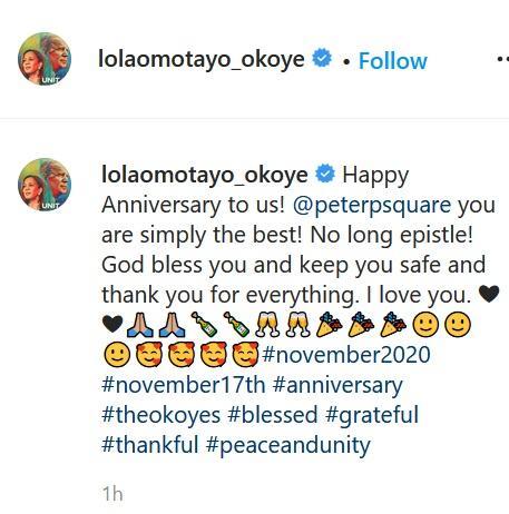 Singer Peter Okoye And Wife, Lola Omotayo Celebrate 7th Year Wedding Anniversary