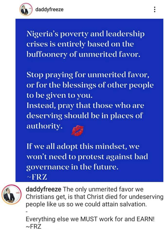 """Stop praying for unmerited favor"" - OAP Daddy Freeze shades Pastor Adeboye"