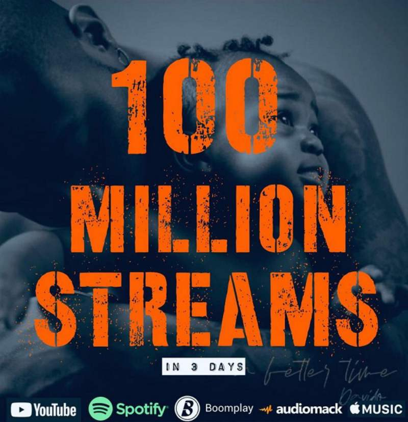 Davido Jubilates as 'A Better Time' Album Hits 100 Million Streams In 3 Days