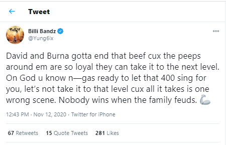 """Nobody wins when family quarrel"" - Yung6ix calls for peace between Davido and Burna Boy"