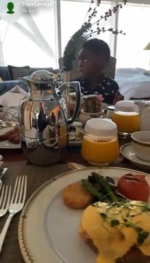 Tiwa Savage takes son, Jamil on luxury vacation, shopping spree (Video)