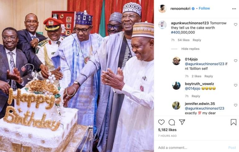 """""""They'll say the cake is N400M"""" - Nigerians tease Buhari over his birthday cake"""