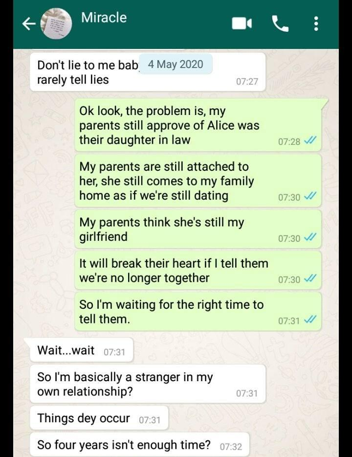 """""""You're not the woman my parents want for me"""" - Lady cries out after boyfriend of four years introduce her as colleague to his family"""