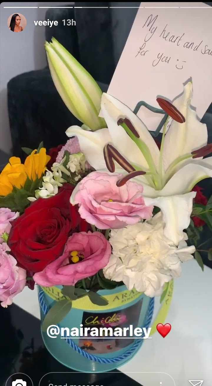 """Naira Marley sends Vee flower bouquet with note """"my heart and soul for you"""""""