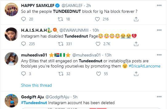 """""""The bully is finally taken down"""" - Reactions as Instagram disables Tunde Ednut's page"""