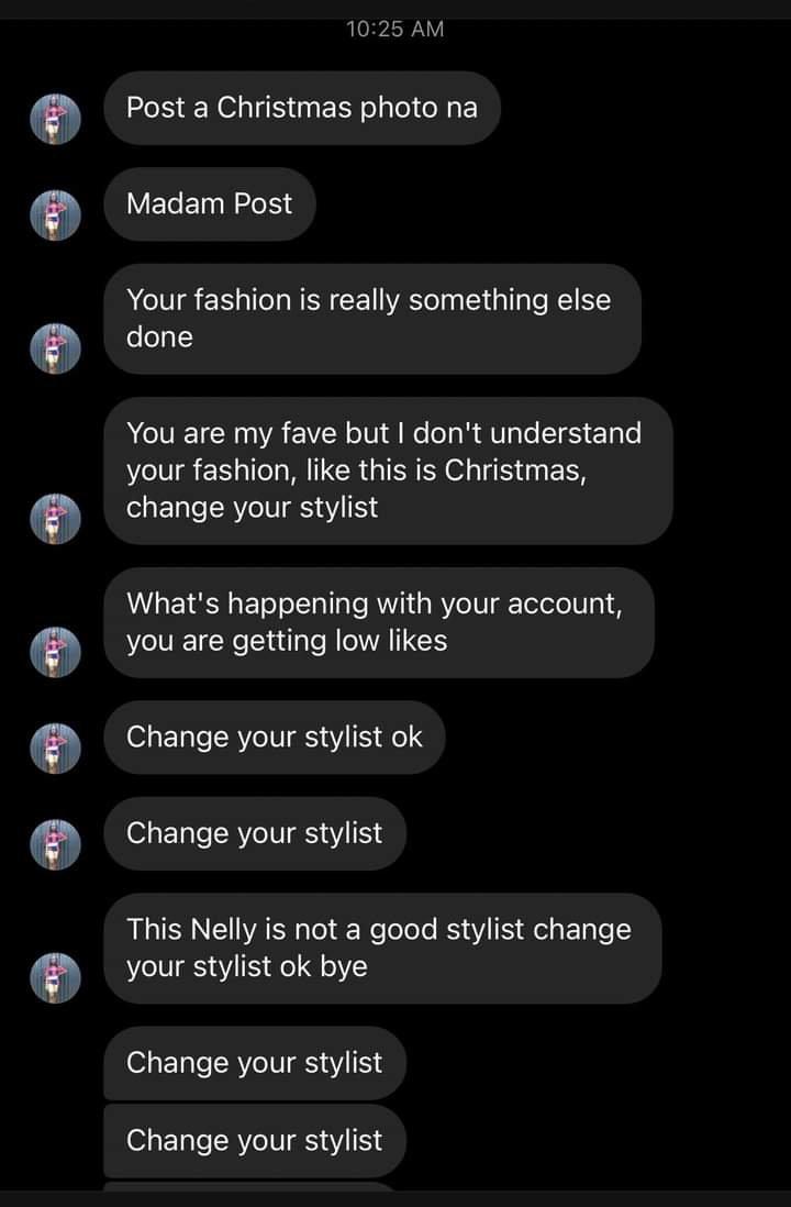Erica's fan says she should change her stylist