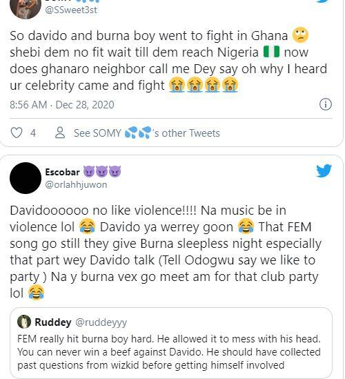 """""""David and Goliath part 2"""" - Reactions after Davido, Burna Boy engage in fist fight"""