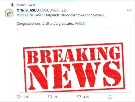ASUU STRIKE CALLED OFF SUSPENDED 2020