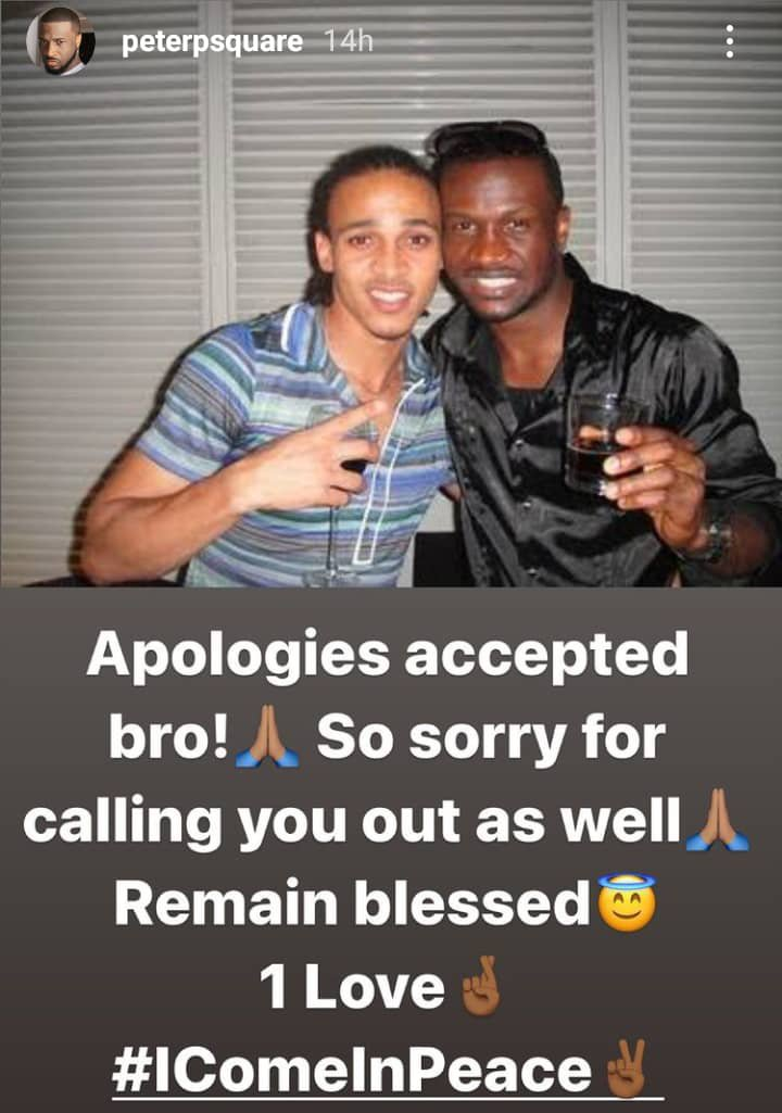 Peter Okoye reconciles with Odemwingie