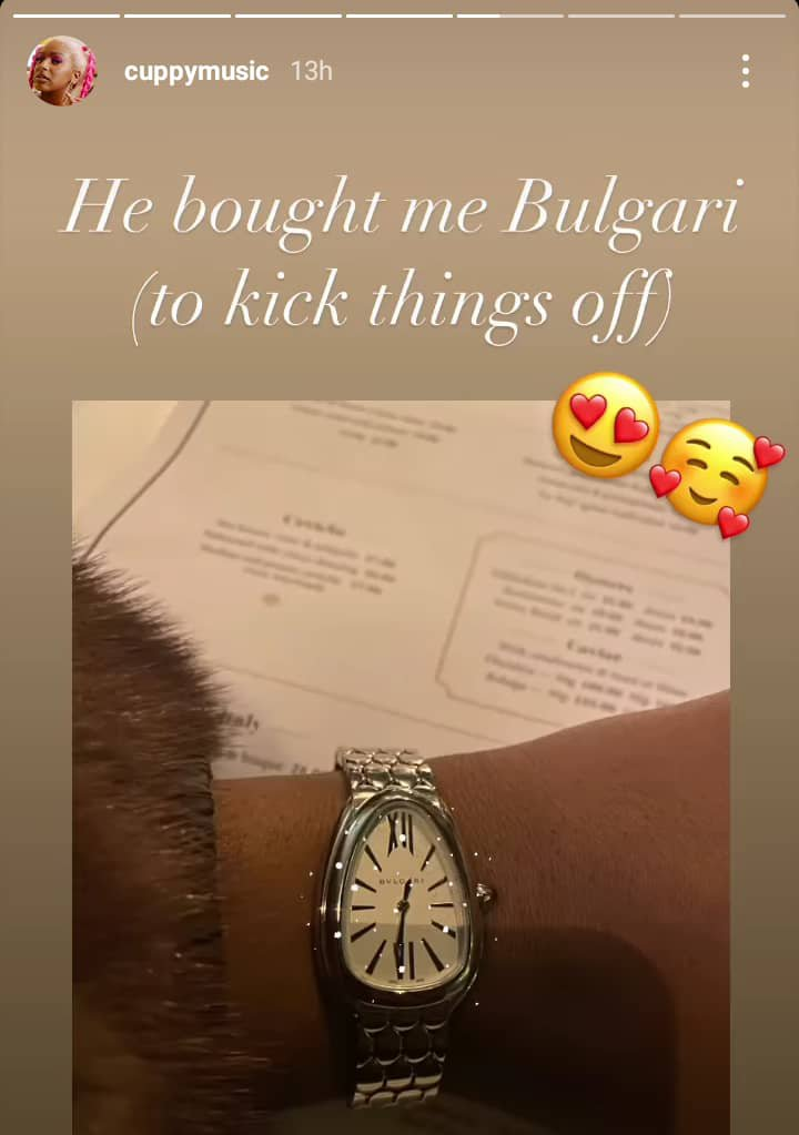 DJ Cuppy Bulgari wristwatch