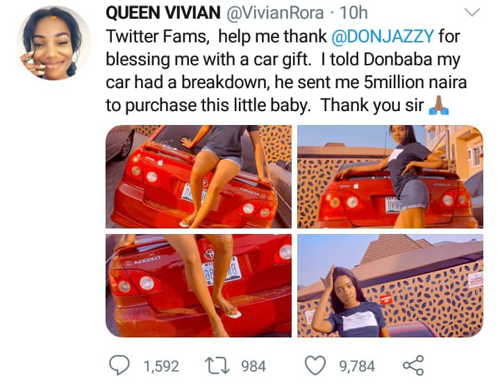 Don Jazzy gifted her a car