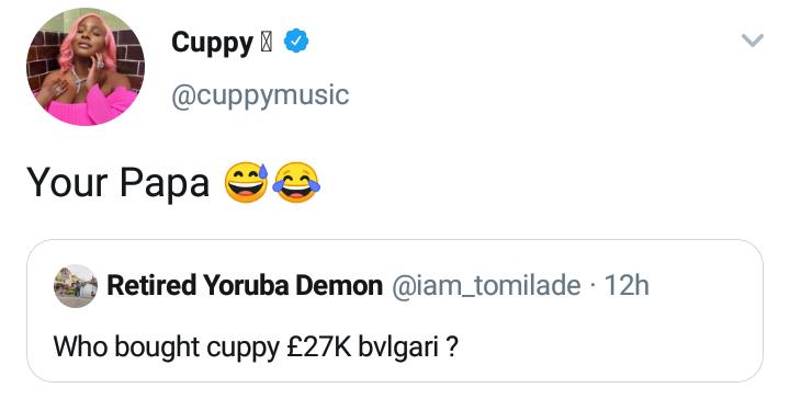 DJ Cuppy blasts troll