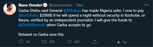 Reno Omokri offers Garba Shehu N7.6m to spend a night without security after declaring Nigeria is safe