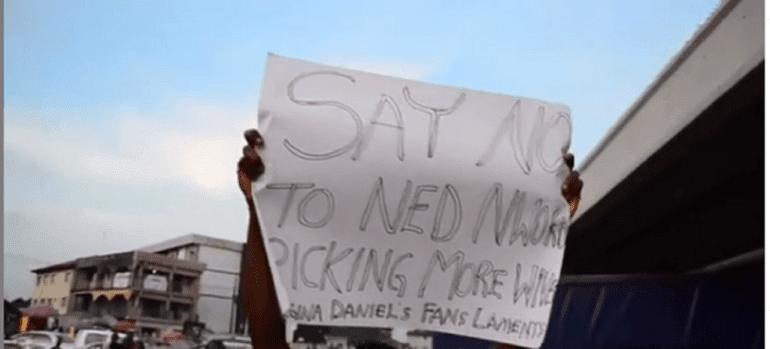 regina daniels fans protest Ned nwoko