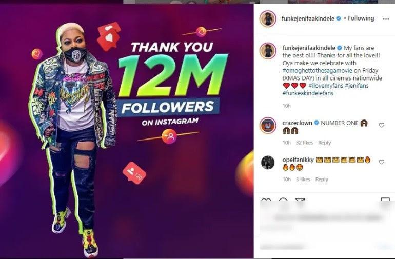 Funke Akindele celebrates 12 million followers on Instagram