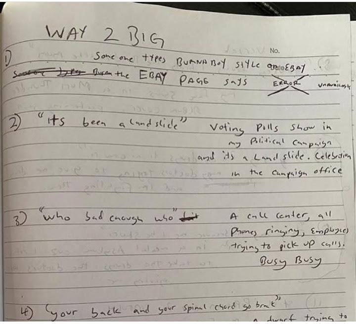 """""""Handwriting like that of a pharmacist"""" - Reactions as Burna Boy's note surfaces"""