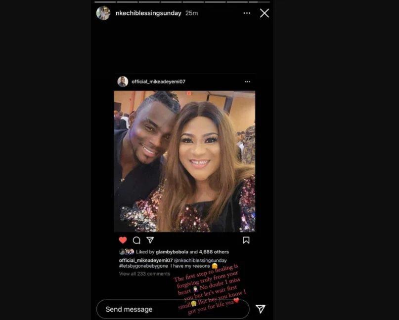 Ex-boyfriend apologizes to Nkechi Blessing