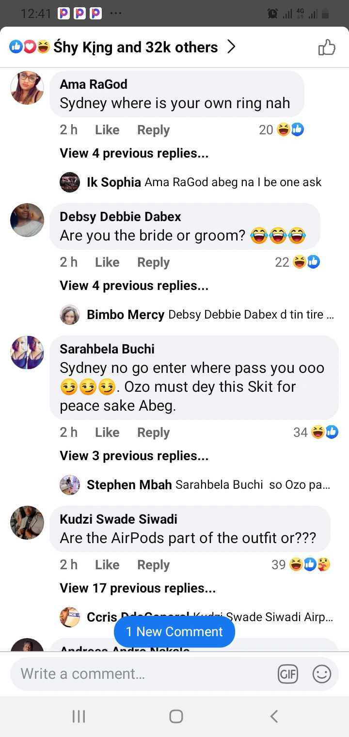 """""""E no fit last"""" - Fans reacts to wedding of Sydney Talker and Nengi"""